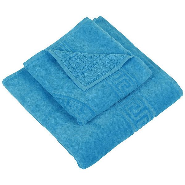 Versace Medusa Bath Towels - Set of 2 - Turquoise ($97) ❤ liked on Polyvore featuring home, bed & bath, bath, bath towels, blue, cotton hand towels, blue bath towels, blue hand towels, versace and cotton bath towels