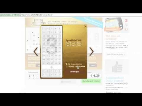 Euro Lotto spielen:  https://www.youtube.com/watch?v=kZ8vUH07vo4&feature=youtu.be