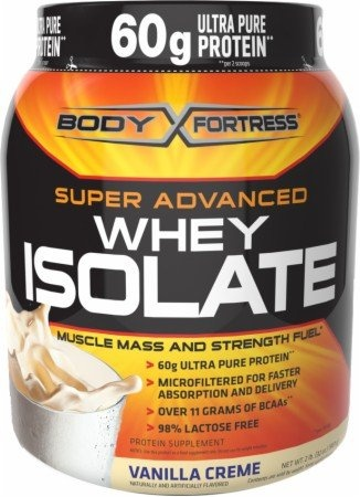 Body Fortress Super Advanced Whey Isolate, Vanilla Creme, 2 Pounds.  What I am currently using