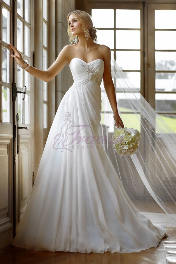 Column Herz-Ausschnitt Organza Satin Hof-Schleppe elegantes Brautkleid