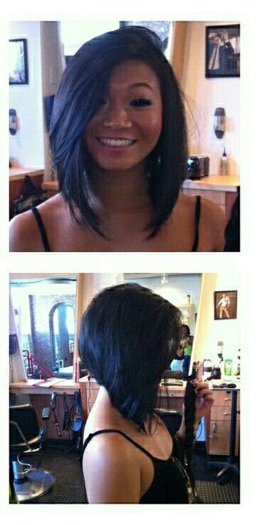 Inverted bob; long bangs, short in the back