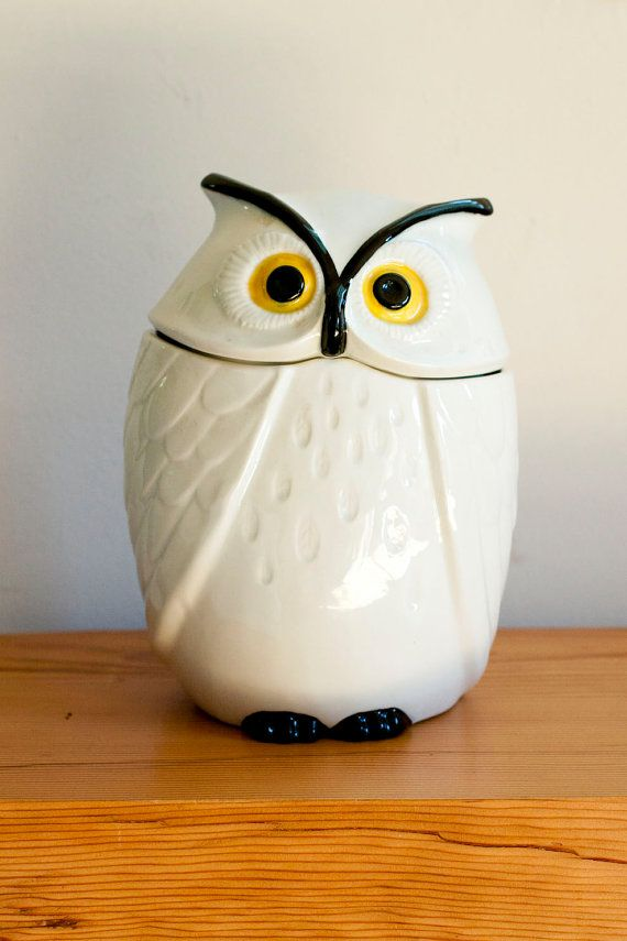 vintage rare white Poppytrail owl cookie jar by ManitouVintage, $115.00