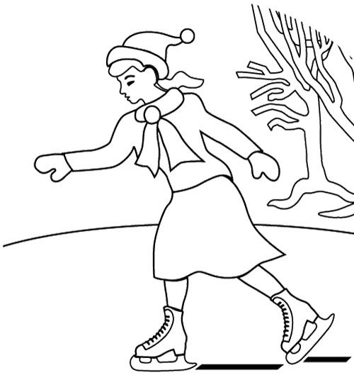 The Girl Ice Skating Coloring Page