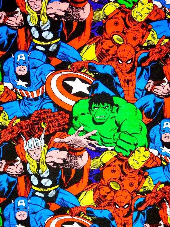 Marvel comics fabric, super heroes 100% cotton Premium Quality designer Fabric for quilting projects, apparel, sewing general arts and crafts, clothing and home decor.  Fabric material is 100% cotton 44 inches wide. In the second picture the ruler runs along the selvage.  Please select your size preference from the drop-down menu. Available by fat quarter, half yard, yard, yard and a half and so on.  You may purchase more than one yard by adjusting the quantity option... For example if you…