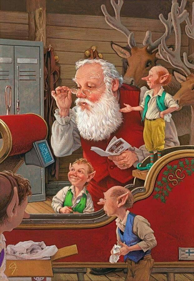 Santa and elves getting  ready 4 the big day!!!