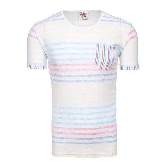 Biele pánske tričko s farebnými pásikmi - fashionday.eu