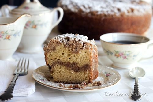 Corner Bakery Cinnamon Creme Coffee Cake (make 1/2 recipe---way too large. Cake bland, prefer KAF Baker's Cinn Filling in the middle. Topping is spot on. Note: oodles of butter....