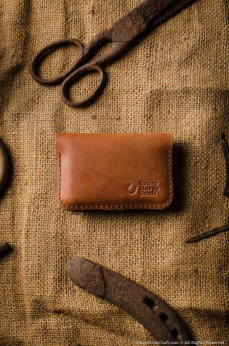 Business & credit card holder orange leather front
