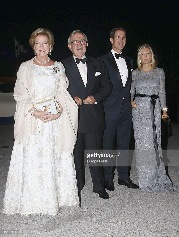 Queen Anne-Marie of Greece, King Constantine II of Greece, Prince Pavlos of Greece, Princess Marie-Chantal of Greece attend private dinner to celebrate the Golden Wedding Anniversary of King Constantine II and Queen Anne Marie of Greece Yacht Club on September 18, 2014 in Athens, Greece.