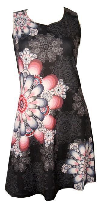 Robe noire imprimé mandala gris-rose http://www.yokaso.fr