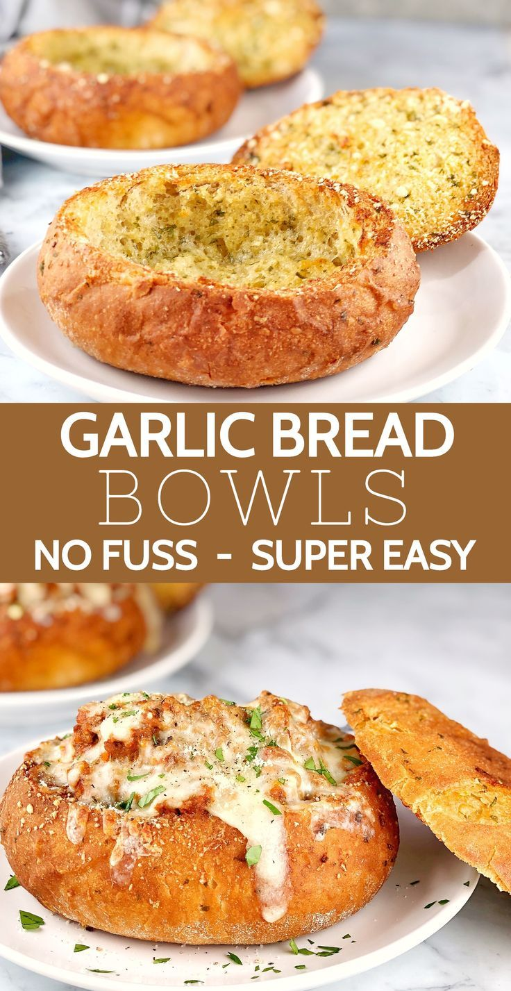 Bread Bowl Recipe The Easy Way Turn Store Bought Bread Rolls Into Crunchy Garlic Bread Bowls This Easy Bread Bowl Recipe Homemade Bread Bowls Bread Bowls