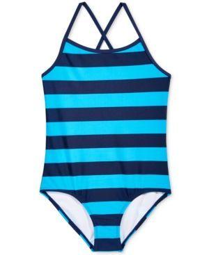 Kanu Surf 1-Pc. Layla Striped Swimsuit, Big Girls (7-16) - Blue 14