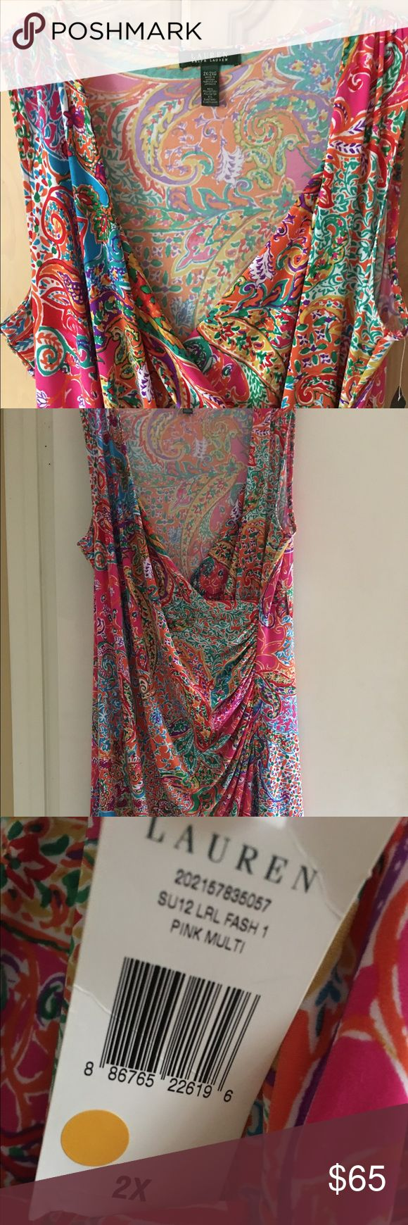 🌴NWT RALPH LAUREN tropical colors paisley dress Bright and vibrant tropical color RALPH LAUREN dress.  Very flattering and gathered at the hip and waist and cross cross neckline.  Can be dressed up with a nice pair of high heeled sandals or a pair of pumps.  Never worn still has tag.  Length is just below the knees. Ralph Lauren Dresses Midi