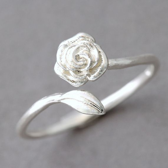 Sterling Silver Rose Ring Wrap