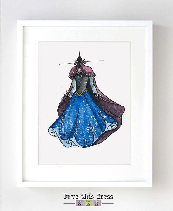 Princess Anna  Disney Watercolor - Fine Art Sketch Print
