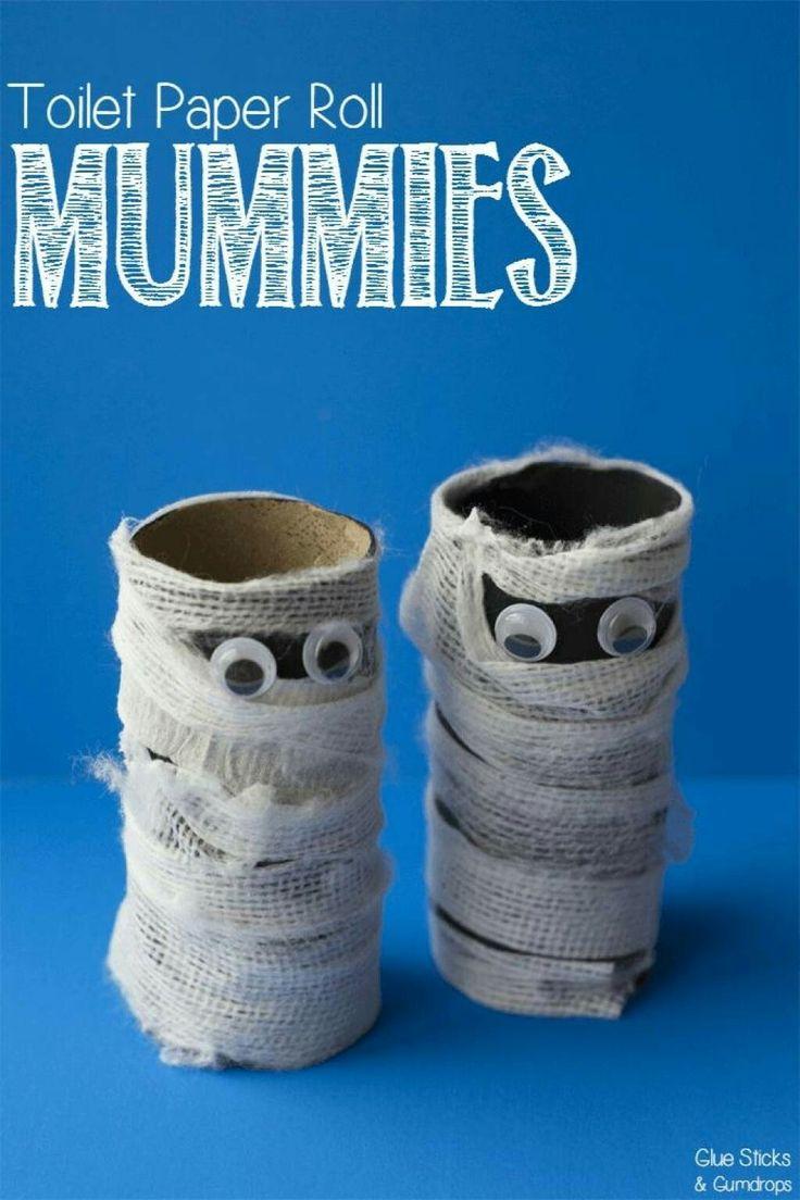Halloween toilet paper roll mummy