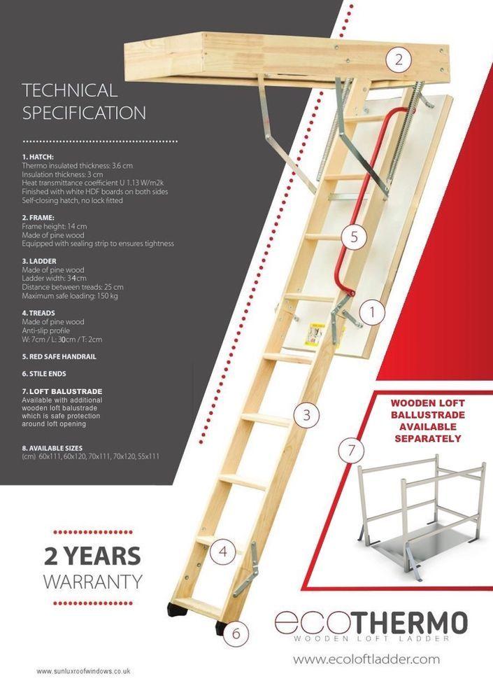 Optistep Wooden Folding Loft Ladder Hatch Attic Stairs 55cmx111cm H Up To 280 Ebay In 2020 Attic Renovation Attic Storage Attic Remodel