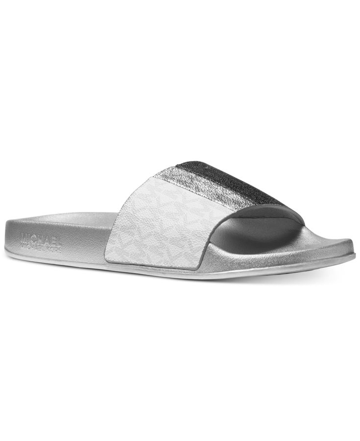 Michael Michael Kors Ayla Pool Slide Sandals Black Silver