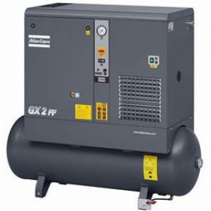 3 HP GX2 Rotary Screw Air Compressor w/Dryer | 53 Gallon Tank | 1 Phase 230V | Atlas Copco | GX2-150T AFF