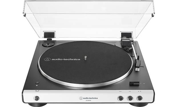 Audio Technica Lp 60xbt White Fully Automatic Belt Drive Turntable With Built In Phono Preamp And Wireless Bluetooth Audio Output At Crutchfield Audio Technica Stereo Turntable Turntable
