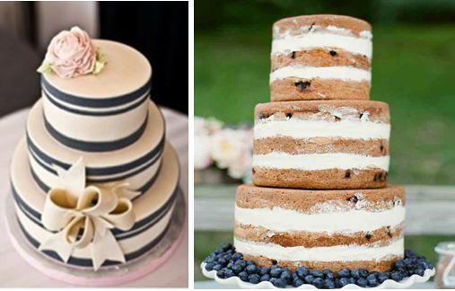 Love Boat Τούρτα : Για τη νυφική τούρτα προτείνουμε διακριτικές ρίγες και στην κορυφή ένα ρόζ τριαντάφυλλο από ζαχαρόπαστα ή εναλλακτικά στρώσεις από παντεσπάνι και κρέμα οι οποίες θα δημιουργούν νοητές ρίγες και στη βάση μπλέ μύρτιλα.