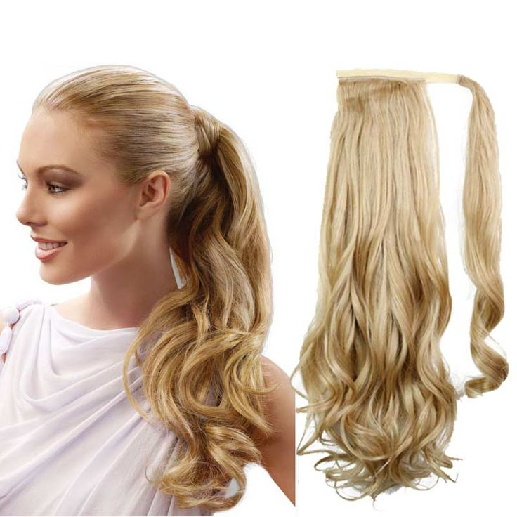 """pony Tails ponytails hair pieces 22"""" Synthetic Hair Long Cruly Clip In Ribbon Ponytail Hair Extensions curly Hairpiece Fake Hair"""