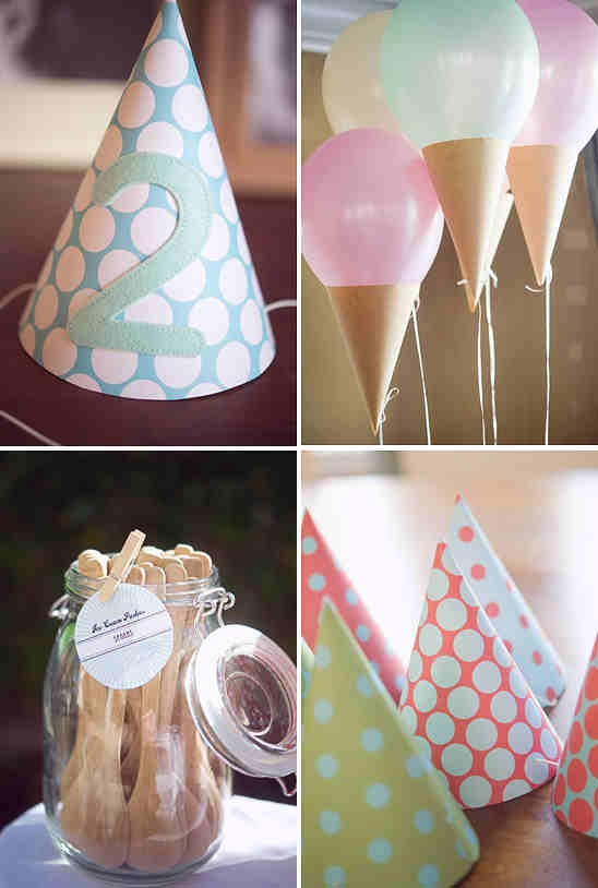 Ice cream party- love this balloon idea.