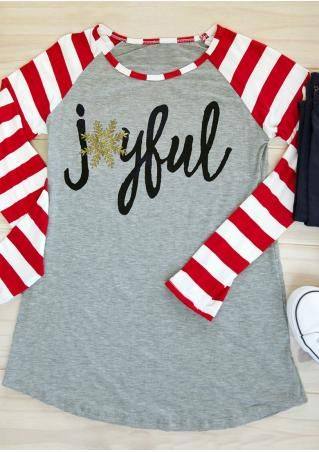 Christmas Snowflake Joyful Long Sleeve Baseball T-Shirt