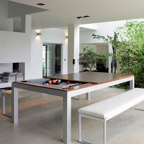 Fusion Pool Table And Dining Table  A #diningtable with #pooltable underneath it.