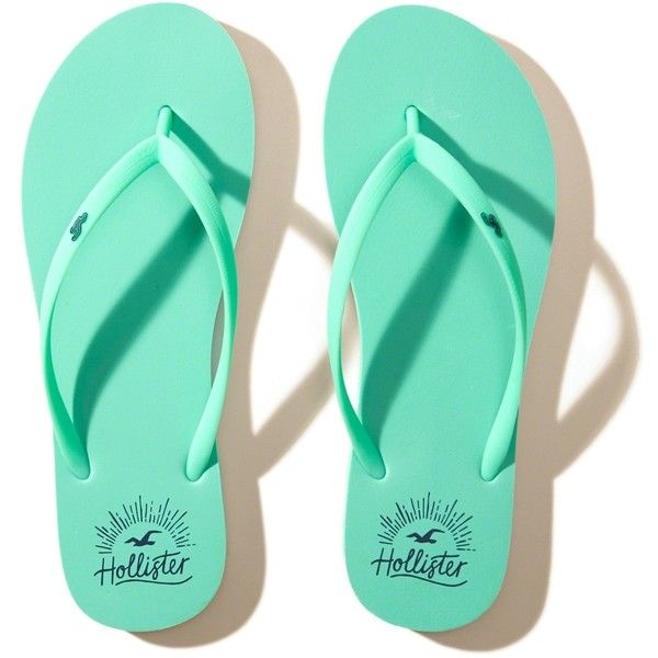 Hollister Icon Rubber Flip Flop ($9.95) ❤ liked on Polyvore featuring shoes, sandals, flip flops, turquoise, rubber footwear, long shoes, rubber shoes, print shoes and patterned shoes