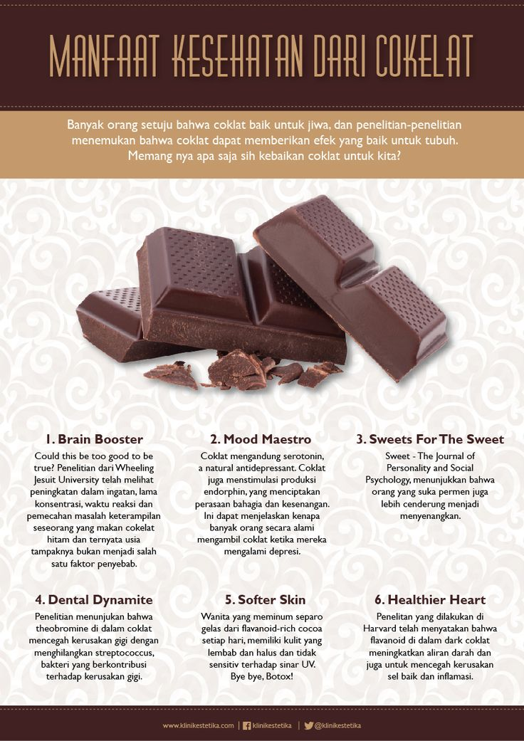Manfaat kesehatan dari cokelat.   Beauty Infographic