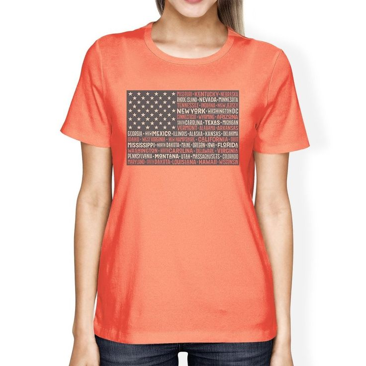 50 States American Flag Shirt Womens Peach Cotton Graphic Tee