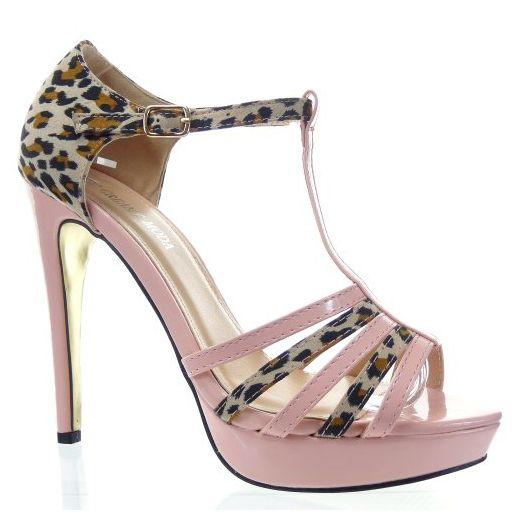 Kickly - damen Mode Schuhe Pumpe Sandalen leopard Schuhabsatz Stiletto - Rosa T 38 - UK 5 - Damen pumps (*Partner-Link)