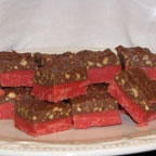 These cherry chip candy squares are a great Christmas treat.  Some people call them Bing Cherry bars and some people call them Cherry Mash bars.