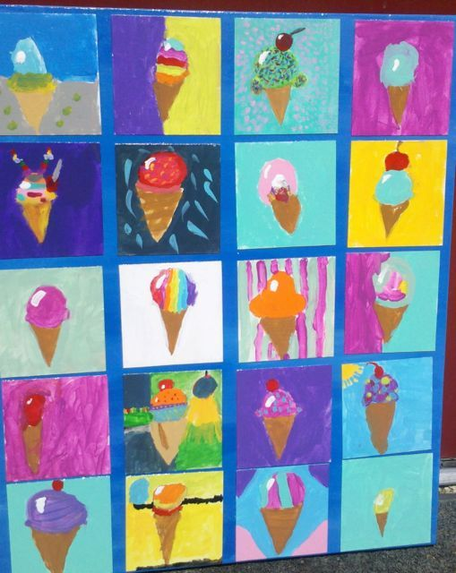 ART with Mrs. Smith ice cream cones on canvas