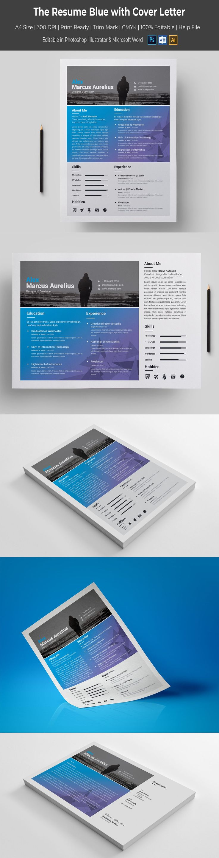 Blue with Cover Letter Resume Template #67069