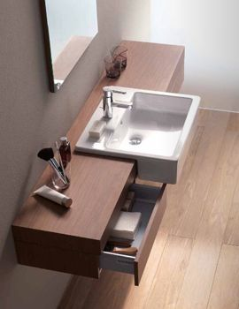 Image of Fogo Console With Drawer For Semi Recessed Washbasin 1400mm - FO8382