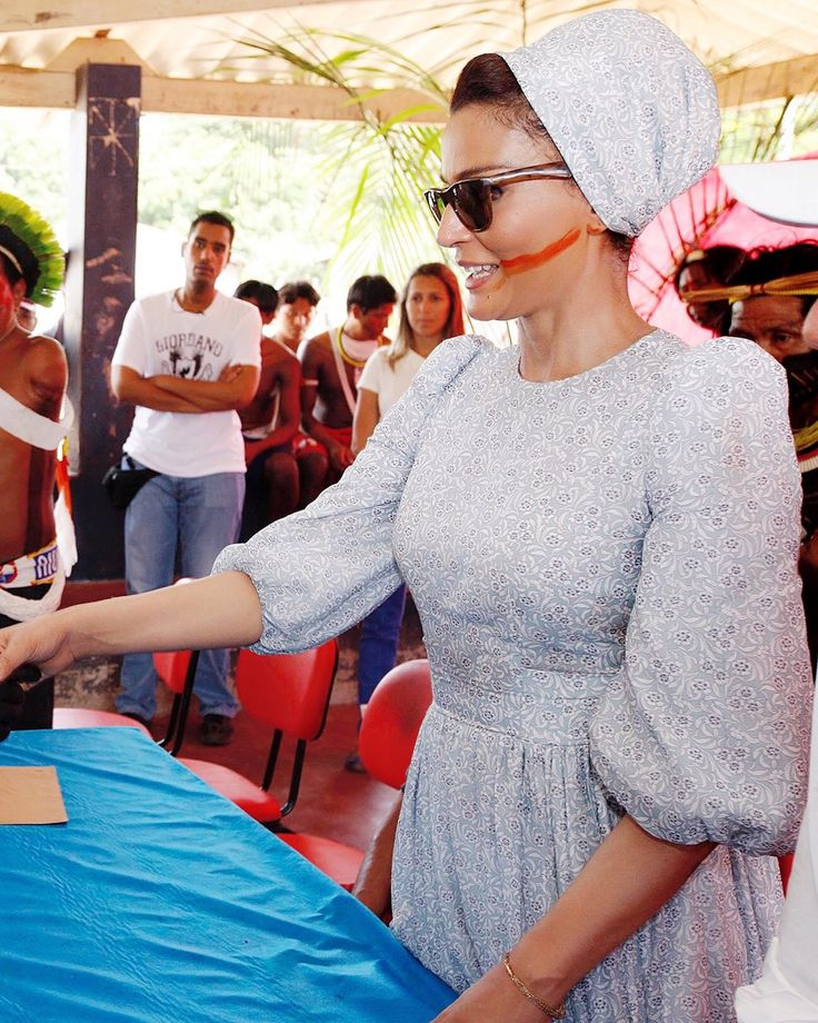 Sheikha Mozah during a visit to the Xikrin community in the Amazon, September 2013. HH wanted to see for herself the education approaches in isolated communities, and look for ways to support them through the Educate A Child program. She was looking...
