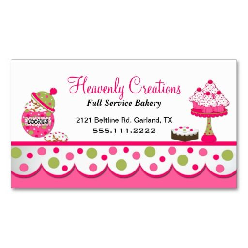 cute pink and green bakery business card bakery business cards bakeries and business cards. Black Bedroom Furniture Sets. Home Design Ideas