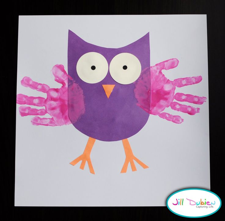 Handprint owls--- cute for Nocturnal Animals