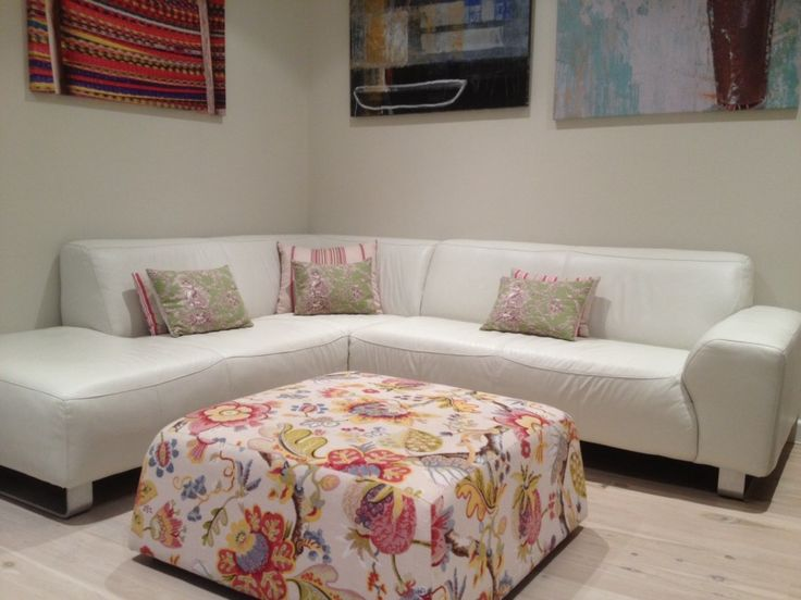 Living Room White Sectional Sofa With Floral Fabric Ottoman Coffee Table For Furniture Ideas
