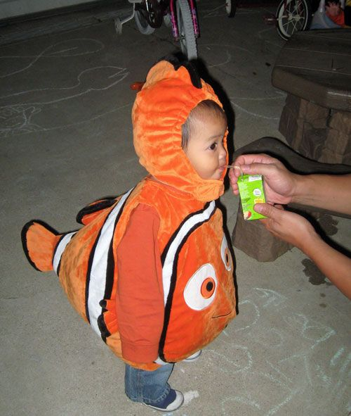 Nemo costume and patterns make your little fish orange for Baby fish costume