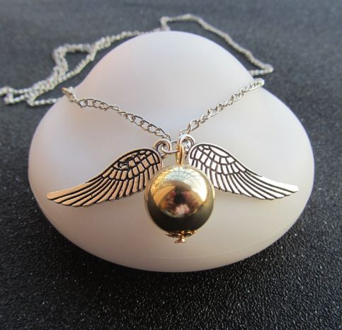 Wing Necklace-Wholesale Harry Potter and The Deathly Hallows Necklace Snitch Silver Necklace Golden Necklace Jewelry