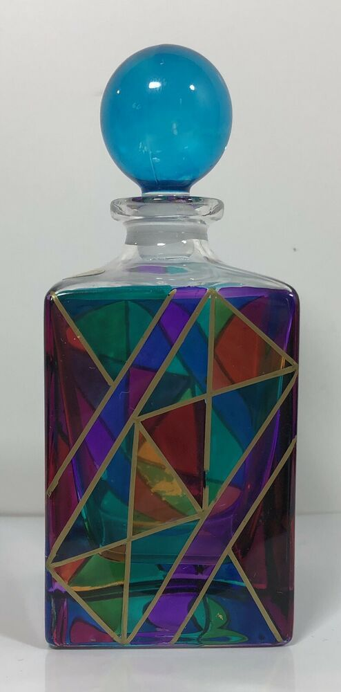 ef0d0d58052b Murano Italy Hand Painted Stained Glass Bottle with Stopper in 2019 ...