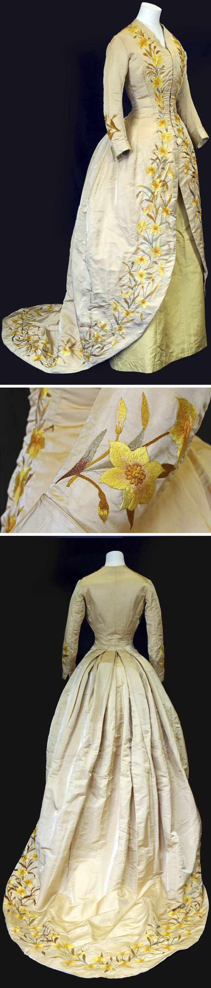 Tea gown, Philadelphia, ca. 1892. Beige silk lined with yellow silk satin; yellow underskirt. Hand-embroidered with daffodils. Small glass beads form the center of the flowers. Front opening with hook & eye fasteners. American Museum in Britain