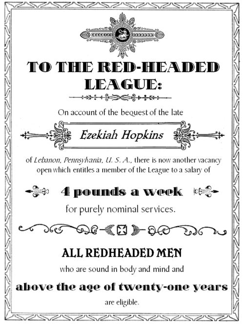 suspense of the red headed league Dive deep into sir arthur conan doyle's the red-headed league with extended   he provides holmes (and doyle) with the means to build suspense because,.