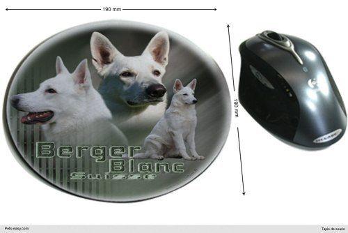 Tapis de souris tissu Chien Berger-Blanc-Suisse-Poil-Court: Tapis de souris tissu Berger-Blanc-Suisse-Poil-Court, une mousse antidérapente…