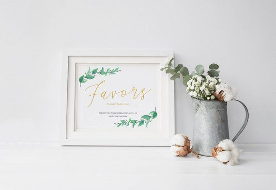 Greenery Wedding Favors Sign, Wedding Signage Printable Template, Wedding Guests Favors Signage Templates, Wedding Signs Decor : IDB014O