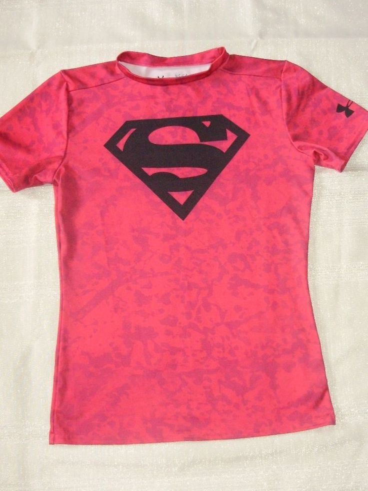 Under Armour UA Girls Fitted Heatgear Bright Pink Superman T Shirt Top YLG Large #Underarmour #TShirt #Everyday