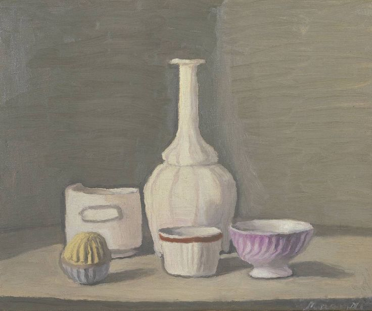 Giorgio Morandi - Still Life 1946 Morandi basically spent his whole life painting the same picture over and over again, but the purity of his eye meant that every sinlgle one was a quiet triumph. Should be a massive influence on anyone who is interested in still life...painting, drawing or photography.